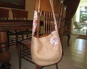 Burlap Tote with Shabby Flower