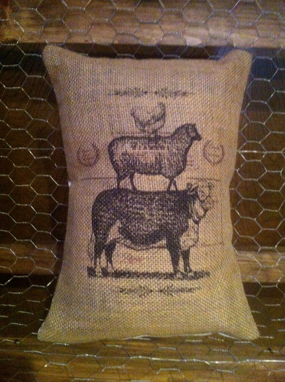 French Cow, sheep, chicken Burlap 12 x 16 Pillow