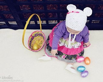 Crochet Hat Pattern:  with Crochet Heart or Fabric Bow, 'Marshmallow Bear'