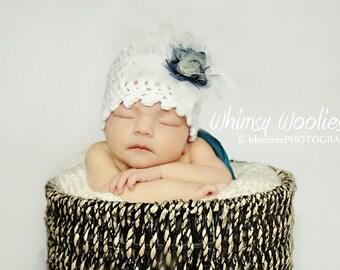 Baby Crochet Hat Pattern: 'Fairy Dust' Cloche with Flower Embellishment, (Newborn, 6 mo, 12 mo)