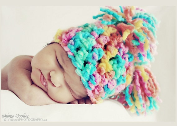 Crochet Hat Pattern: 'Tootie Fruity' Pom Pom, Photo Prop,  0-3mo, 6-12mo, Toddler & Child