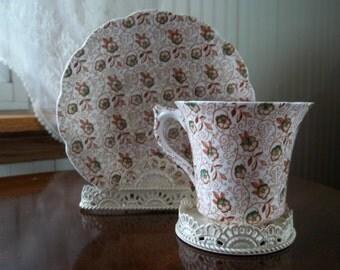 Vintage English Bone China Chintz Pattern Teacup and Saucer/Stevenson China