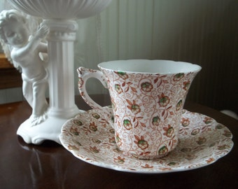 Stevenson Bone China Chintz Pattern Teacup and Saucer   Made in England
