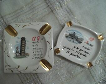 Italian Ashtrays Vintage Souvenir Ware   Vintage Tobacciana     Pisa and Rome