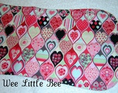 Reversible Burp Cloth in Pink Hearts
