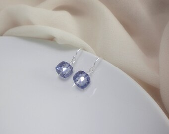 Mystic blue quartz cube earrings, gemstone earrings, dangle earrings