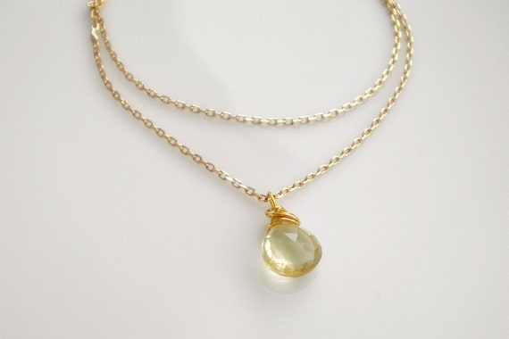Double strand gold bracelet with gemstone drop, bridesmaid
