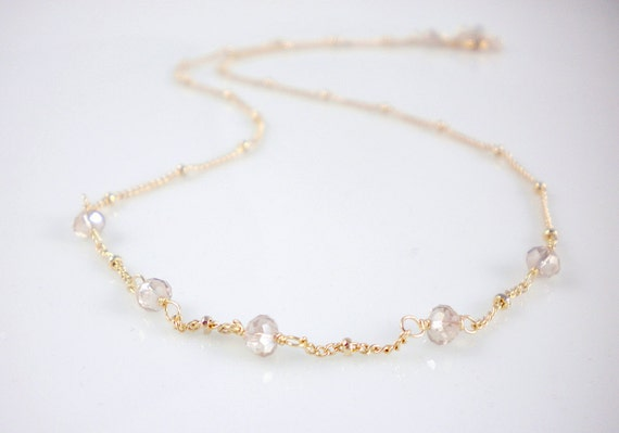 Simple gold necklace with crystal bridesmaid gold