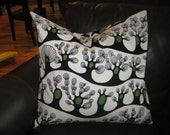 """Black, White and Green Trees Pillow Ikea Print - Set of 2 - 24"""" Free US Shipping"""