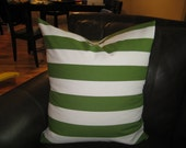 """Set of 2-24"""" Green and White Stripes Pillow Cover- Free U.S. shipping"""
