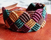 Macrame bracelet chess style four colors