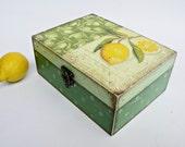 YELLOW LEMON Vintage look woodenTEA box  - 30 luxury tea bags included