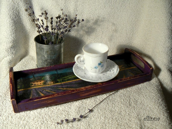 Good Morning Vintage Photos : Vintage wooden tea coffee tray good morning