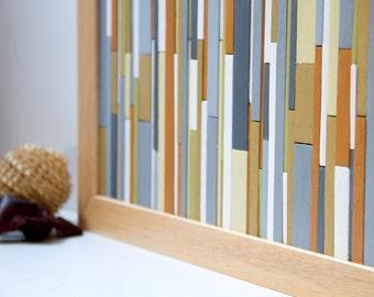 """Wooden Wall Sculpture Art, autumn colours 12""""x30"""""""