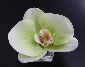 Fine Silk Floral Bouquet Arrangement Green Phalaenopsis Orchid Wedding Party Favor In Square Votive with Illusion Faux Water