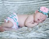Ruffle Diaper Cover and Headband Newborn photo prop