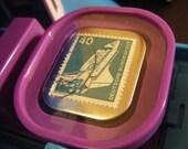 Rocketing Postage Stamp Badge/ Pinback Button