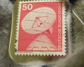 Satellite Earth Station Postage Stamp Pinback button (badge)