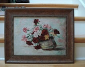 Antique European Floral Oil Painting
