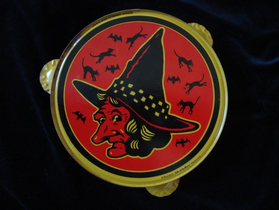 Vintage Halloween Tambourine with Witch and Bats  by Kirchhof