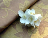 DAMASK- Linen / Cotton Fabric- Golden Yellow/ Light Brown Shades- Fits For Table Linens, Bed Linens, Home Textile, etc.- By Piece 46 inches