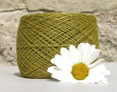 Linen Yarn- Olive Green Yellow Hand Dye Washed And Softened- Pure Linen Flax For All Purpose Use- Weaving, Crocheting, Kniting, Crafts etc.