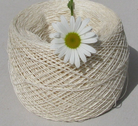 Items similar to Linen Yarn- Off White- Pack Of Two - Pure Linen Flax ...