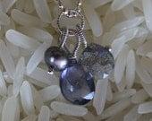 petite trio labradorite briolette, iolite drop and grey pearl interchangeable charm