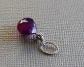 DIY purple chalcedony heart briolette dangle