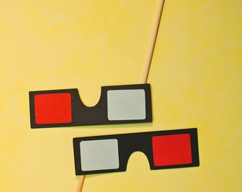 3D Glasses on a Stick - Set of 2 Photo Booth Props