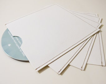 DVD Cases / Sleeves - Set of 25 White Stitched DVD sleeves