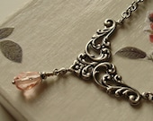 Silver pink floral necklace women - Valentine Victorian Art Nouveau romantic gift for her