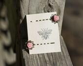 Pink Rose Cabochon Hair Pin