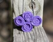Purple Felt Flower Necklace