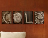 ALPHABET LETTER PHOTOGRAPHY, Four 5x7 inch Canvases, Home Decor, Wall Decor, Last Name Sign