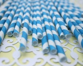 25 Retro Barber Striped Paper Straws - grey, blue OR red ECO FRIENDLY :)
