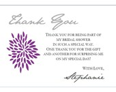 Purple and silver thank you cards for Stephanie