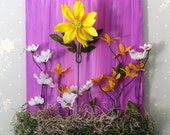Yellow Spring Flowers Acrylic Painting with purple, yellow, white, leaves, spring, summer, gift for her, nursery, baby girl, easter, mom