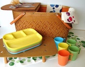 Vintage Redmon Woven Wood and Metal Picnic Basket with Trays, Cups, Silverware, and Table Cloths