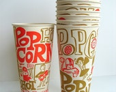 Vintage Paper Popcorn Cups (Set of 12), Retro Fun - Never used, stored sealed