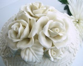 Three-Dimensional White Rose Candy Jar / Trinket Box / Bowl with Lid -  so delicate and beautiful