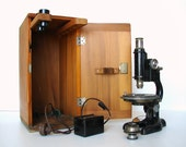 Vintage / Antique Lighted Microscope with Wooden Box and Lenses - Industrial Decor and more