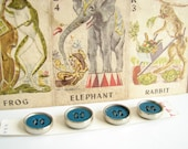 Vintage Blue and Silver Metal Buttons (Set of 4 on original card), No.15 - The Three Ring Circus Collection