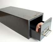Vintage Industrial Steelmaster Metal Card Drawer with Handle (Large) - Industrial Decor, Back to School Storage