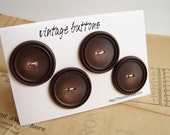 "Vintage Buttons in Dark Brown (Set of 4) ""The Espresso Set"" - Collectible, Crafts, Altered Art and more"