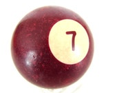 "Vintage Solid Burgandy 7 Pool Ball / Billiard Ball with Burgandy Number, Standard Regulation Size (2-1/4"")"