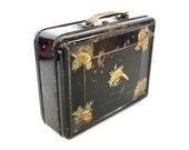 Vintage Black Metal Lunch Box with Bird Decals (c1950s) - Home Decor, Storage, Organizer, Garden Plant Holder, and more