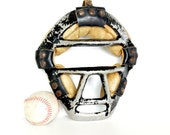 Vintage / Antique Baseball Catchers Facemask with Metal Grid, Leather Straps, Snap Binding - Collectible, Home Decor