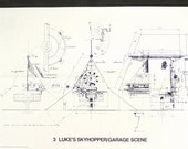 Vintage Star Wars Blueprint for Luke's Skyhopper / Garage Scene (3) - Collectible, Home Decor, altered art and more