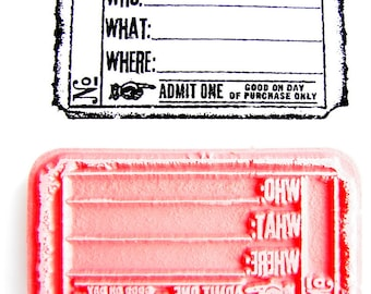Who What Where Blank Ticket Stamp - Rubber Cling Mounted Stamp